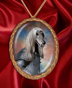 Afghan Hound Pendant Necklace Porcelain - Knight