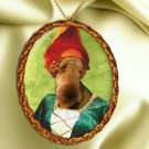Airedale Terrier Pendant Necklace Porcelain - Middle Age Lady