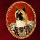 American Akita Jewelry Brooch Handcrafted Ceramic - Queen