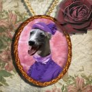 Whippet Jewelry Brooch Handcrafted Ceramic - Lady