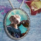 Weimaraner Pendant Jewelry Handcrafted Ceramic - Lady Hawk