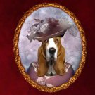 Basset Hound Jewelry Brooch Handcrafted Ceramic - Noble Lady
