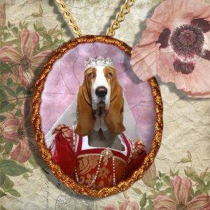Basset Hound Pendant Jewelry Handcrafted Ceramic - Queen