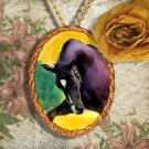 Black Horse Warmblood Horse Jewelry Pendant Necklace Handcrafted Ceramic