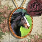 Bay Horse Draft Shire Horse Jewelry Pendant Necklace Handcrafted Ceramic