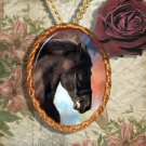 Black Horse Friesian Horse Jewelry Pendant Necklace Handcrafted Ceramic