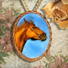 Chestnut Horse Thoroughbred Horse Jewelry Pendant Necklace Handcrafted Ceramic