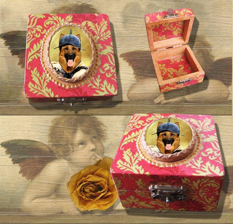 German Shepherds Jewelry Box Decoupage Vintage Wooden Treasure Box for Dog Lover