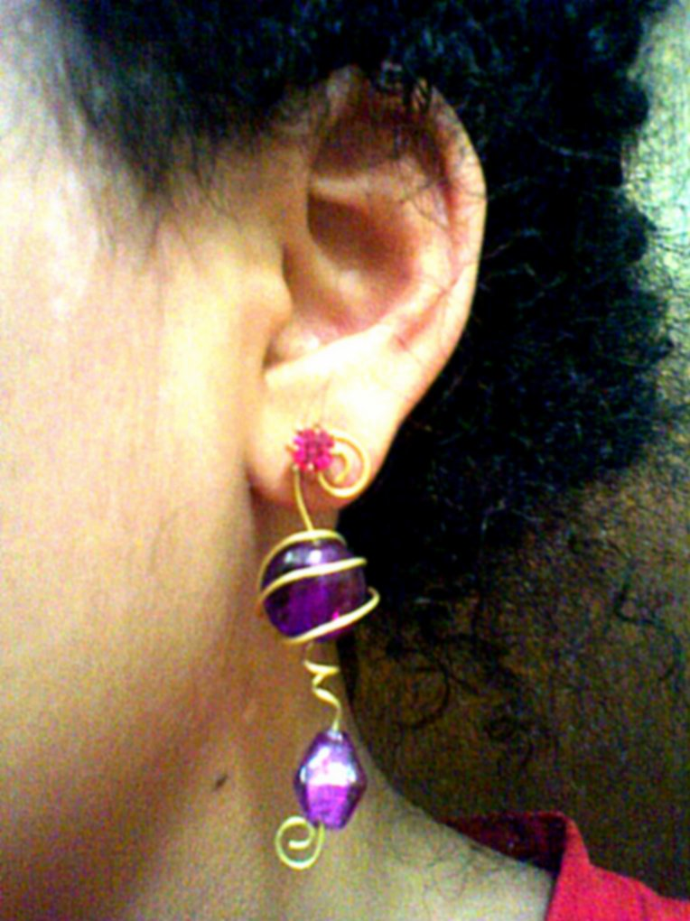 Violet earring ornament