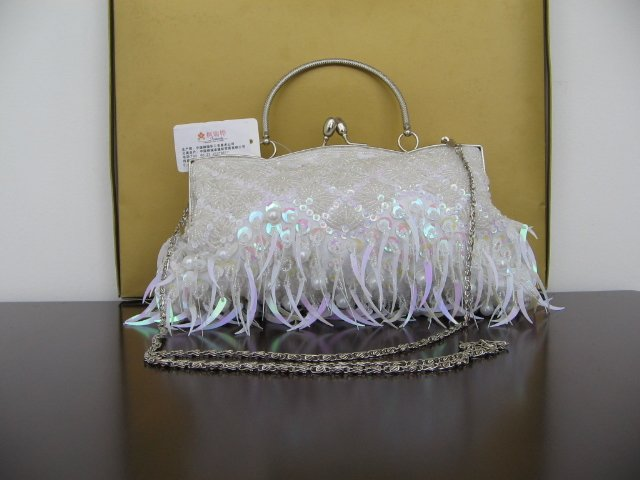 Beaded Embroidery purse White