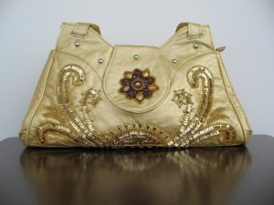 Beaded Embroidery purse Yellow