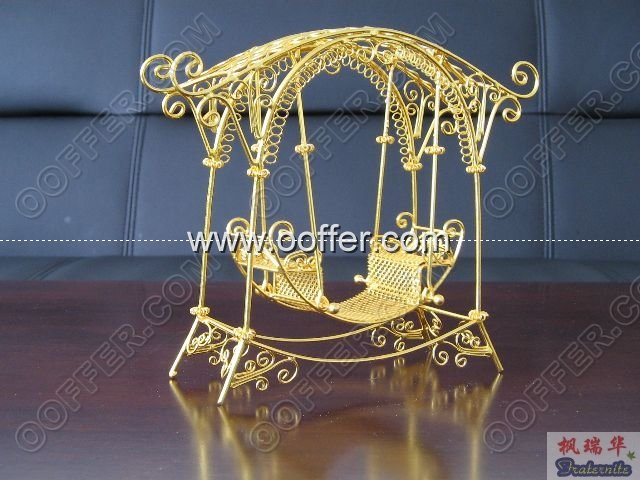 Iron Wire Craft Golden Rocking Chair