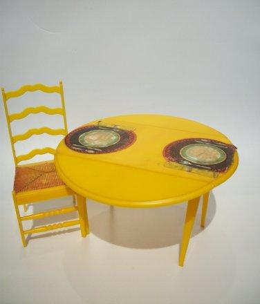 VINTAGE 1970 MATTEL BARBIE TABLE CHAIR DOLLHOUSE FURNITURE