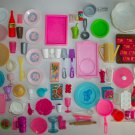 BARBIE DOLLHOUSE KITCHEN COOKWARE FOOD PLATES UTENSILS MIX LOT SOME VINTAGE