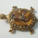 GENUINE TIGERS EYE CRYSTAL TUMBLED STONE TURTLE PIN ACCESSORY CHAKRA HEALING
