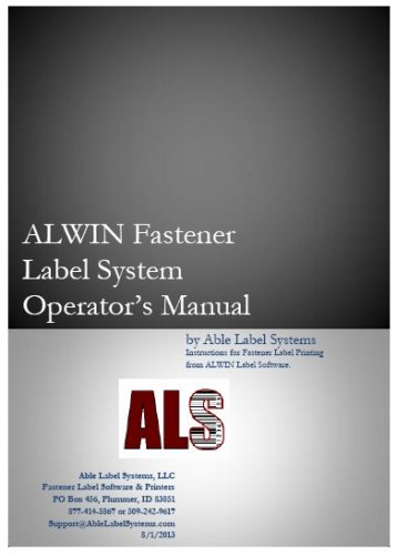 Printed Manual for ALWIN Fastener Label Software