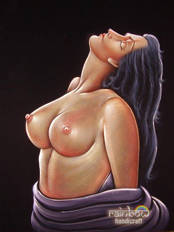 Original Black Velvet Painting Nude Naked Erotic Sexy Big -5599