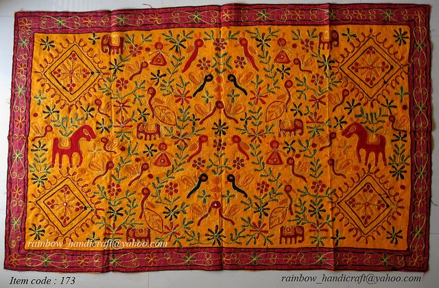 Tribal Table cotton cloth embroidery ethnic runner WALL hanging tapestry INDIA