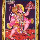hindu deity hanuman monkey god batik sequin cotton wall hanging ethnic tapestry Indian art