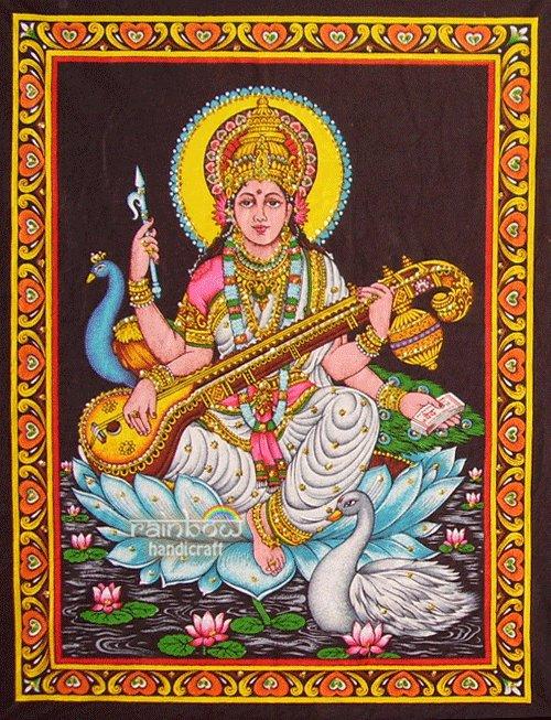 hindu goddess deity saraswati sequin wall hanging tapestry India ethnic decor art
