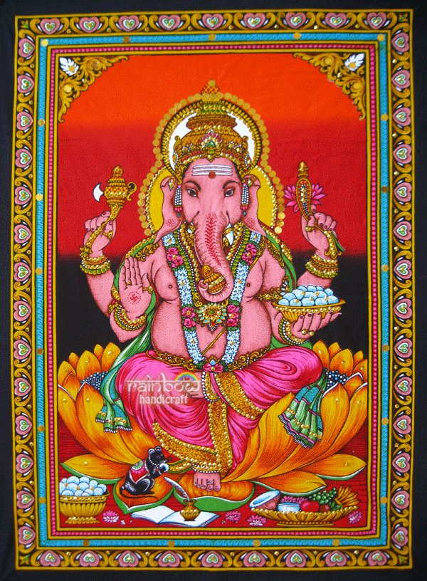 Hindu Elephant God Ganesh Ganesha Sequin Wall Hanging