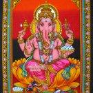 hindu elephant god Ganesh Ganesha sequin wall hanging batik tapestry India ethnic decor art
