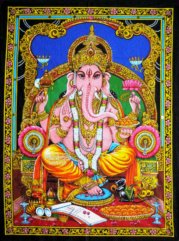 Hindu God Batik Elephant Deity Ganesh Ganesha Sequin Wall