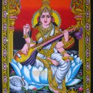 hindu goddess deity saraswati sequin wall hanging cotton tapestry Indian ethnic decor art