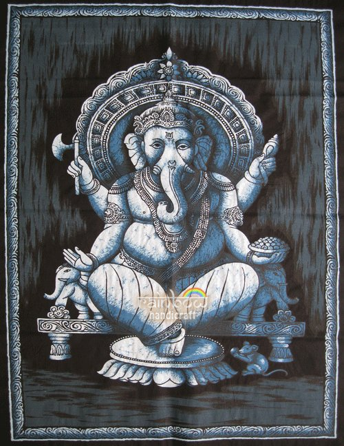 hindu cotton batik painting ganesh ganesha wall hanging cotton ethnic tapestry India art