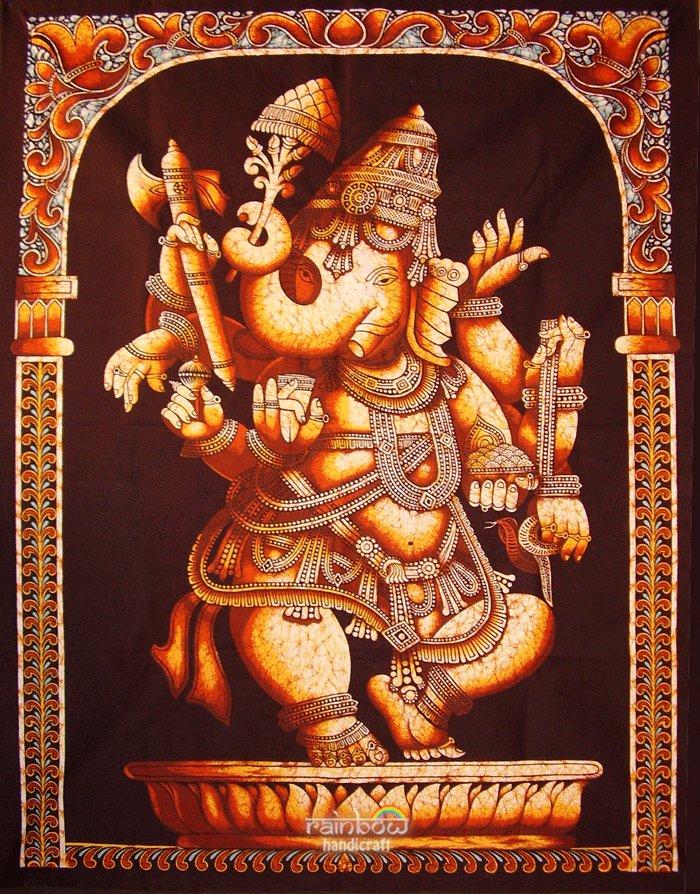 hindu cotton batik painting dancing Ganesh ganesha wall hanging tapestry India art