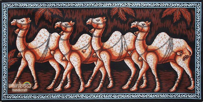 camel batik wall hanging wax cotton tapestry home decor arabic ethnic folk art