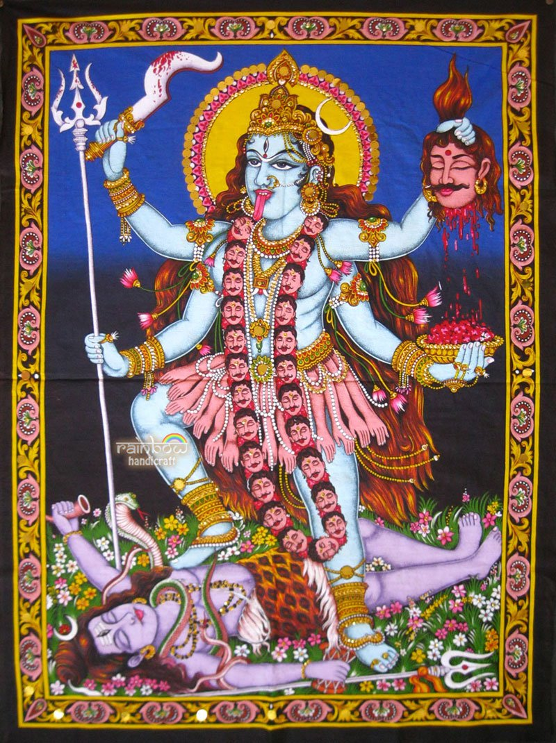 hindu death goddess kali shiva sequin cotton wall hanging tapestry India art
