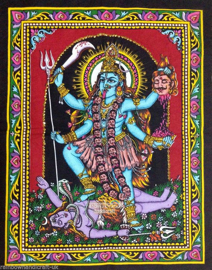 Death goddess kali shiva sequin wall hanging ethnic hippie tapestry batik art