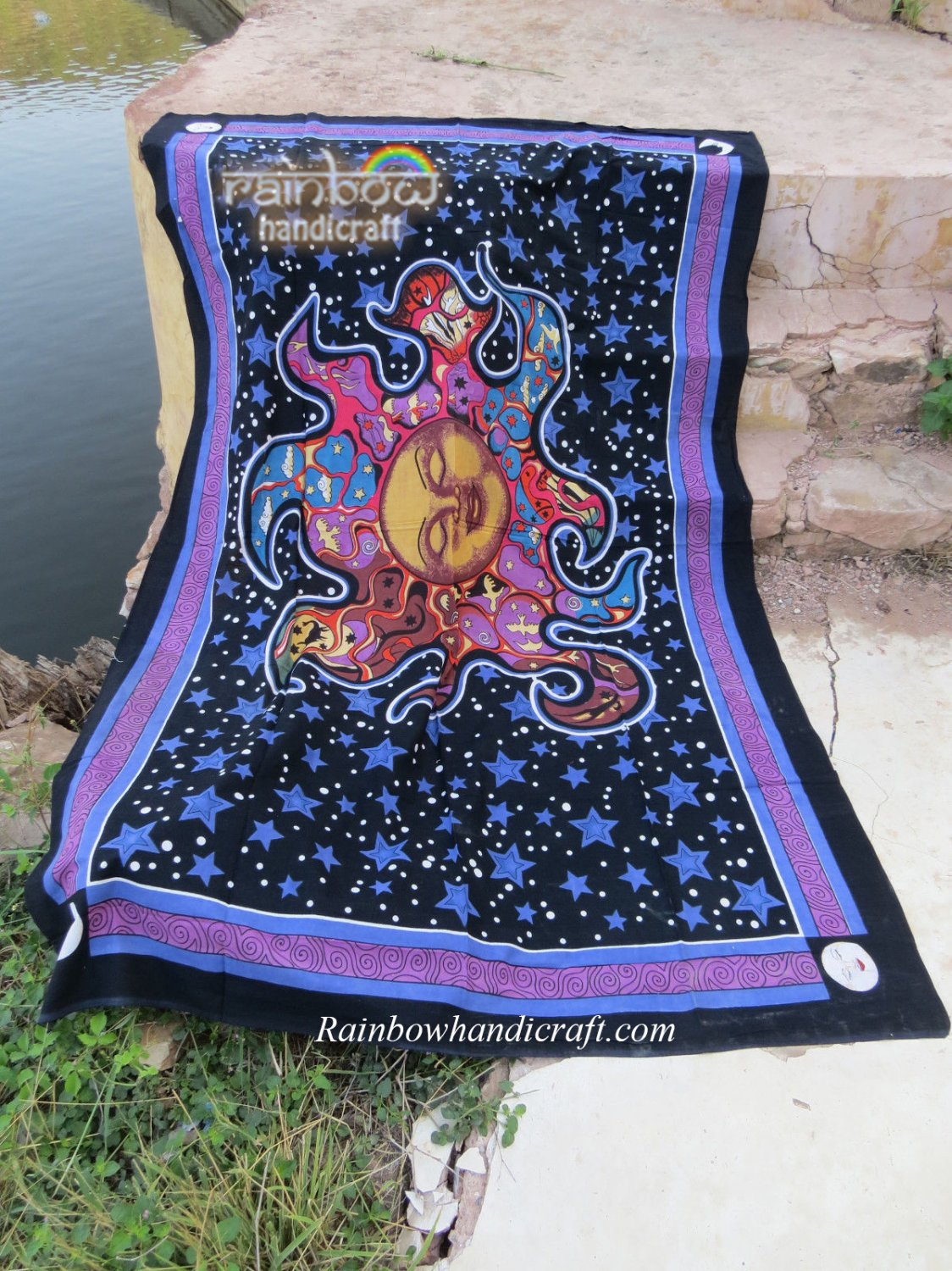 """Burning Sleep Sun Tapestry Psychedelic wall hanging hippie decor throw 55"""" x 85"""""""