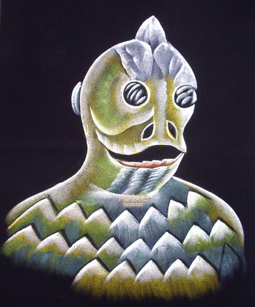 original black velvet hand painting of sleestak land of the lost 1974 TV series