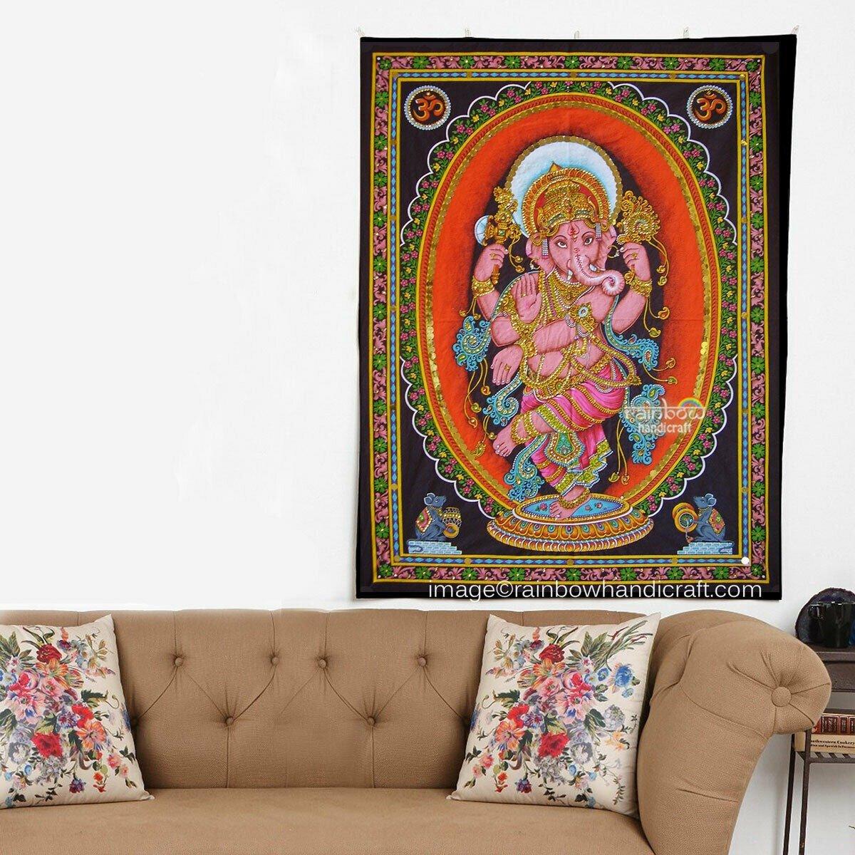hindu deity elephant god dancing Ganesha ganesh sequin wall hanging tapestry decor art