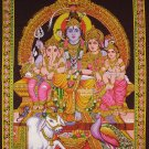 hindu Lord Shiva Family Ganesha parvati sequin wall hanging decor tapestry