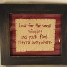 Framed Inspirational Verse Embroidery Miracles Country Primitive Home Decor