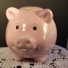 "Large Pink Piggy Bank Pig Collectibles Girly Yellow Heart Flowers 6-12"" tall"