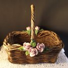 Woven Basket Flowers Home Decor Cottage Rustic Shabby Chic Adorable