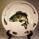 Fish Plate Lake Bass Fishing Department 56 Wall Home Decor Serveware Green Fine China