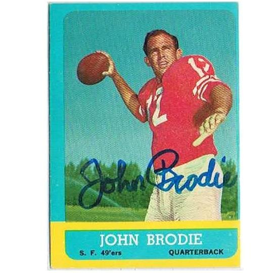 JOHN BRODIE autograph 1963 Topps card
