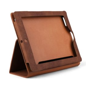 Protective Snakeskin Pattern Hard Leather Case and Stand for Apple Ipad 2