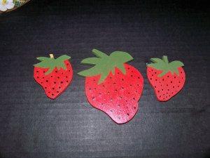 3 Wooden Strawberry Fridge Magnets Refridgerator