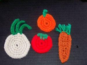 4 Vegetable Fridge Refridgerator Magnets Carrot Onion Pumpkin Tomato