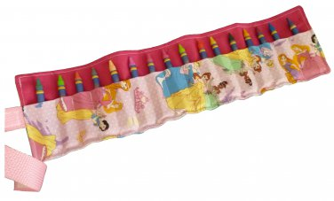Crayon Roll Up Organizer Holds 16 Crayons, Pink/ Dinsey Princess - Hook & Loop