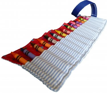Crayon_roll_up_2 Crayon Roll Up Organizer Holds 16 Crayons, Blue Stripes / Red Stars - Hook & Loop