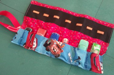 Car Travel Caddy Roll Up for 6 Matchbox or Hotwheels size cars - Blue CARS print