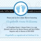 Cute! 10 Printed Baby Shower Feet Polka Dot Invitations Girl Boy - Pink Blue Any Color Twin