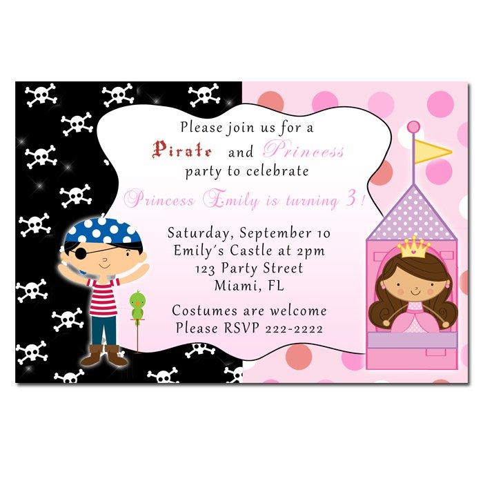 4x6 or 5x7 Pirate Princess Birthday Party Invitations Girl Baby Polka Dot Castle Print Yourself U